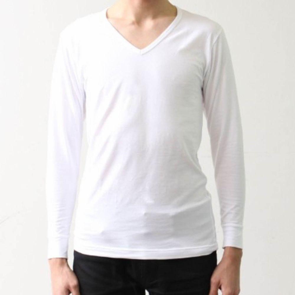 日本千趣會 - 95%棉 (爸爸)V領發熱衣-白色