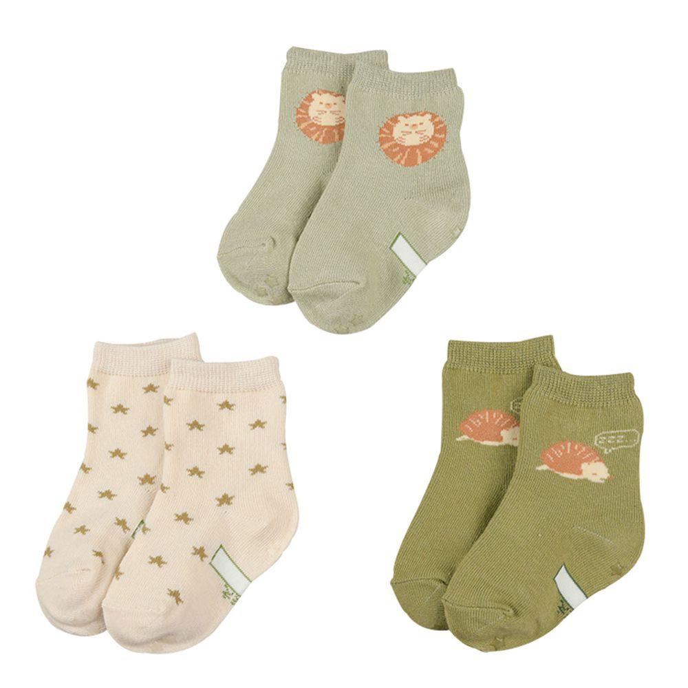 akachan honpo - 男中筒襪3雙組-刺蝟-綠色 (9~14cm)