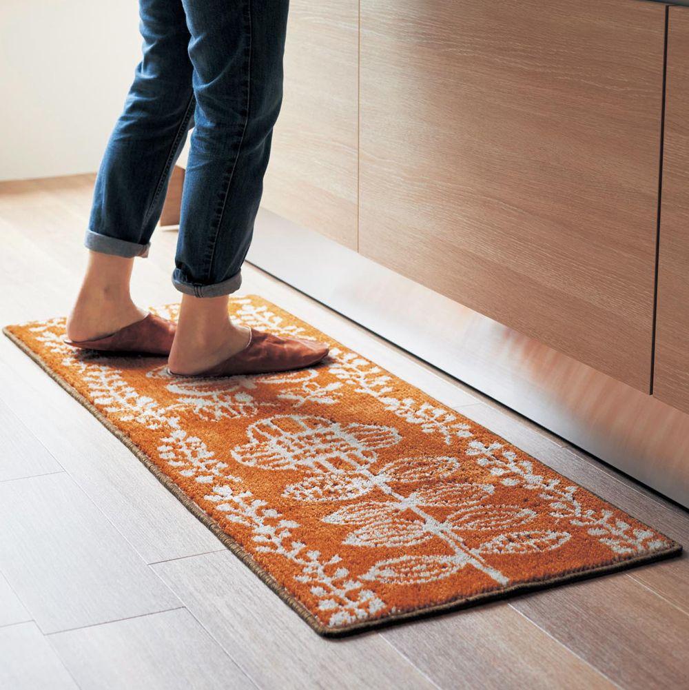 日本千趣會 - 日本製 長毛舒適腳踏墊(廚房/臥室)-北歐風花紋-橘色系