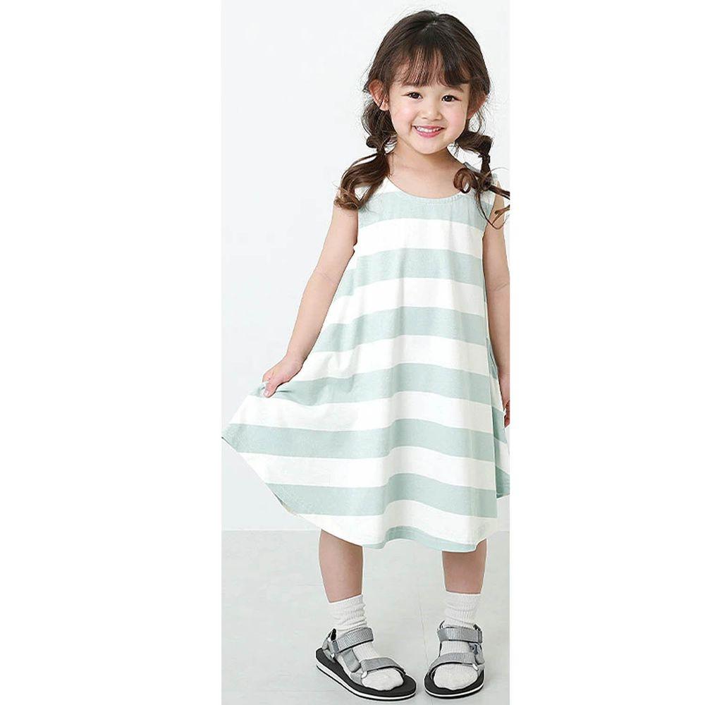 日本 devirock - 純棉傘狀條紋無袖洋裝/親子裝-水藍