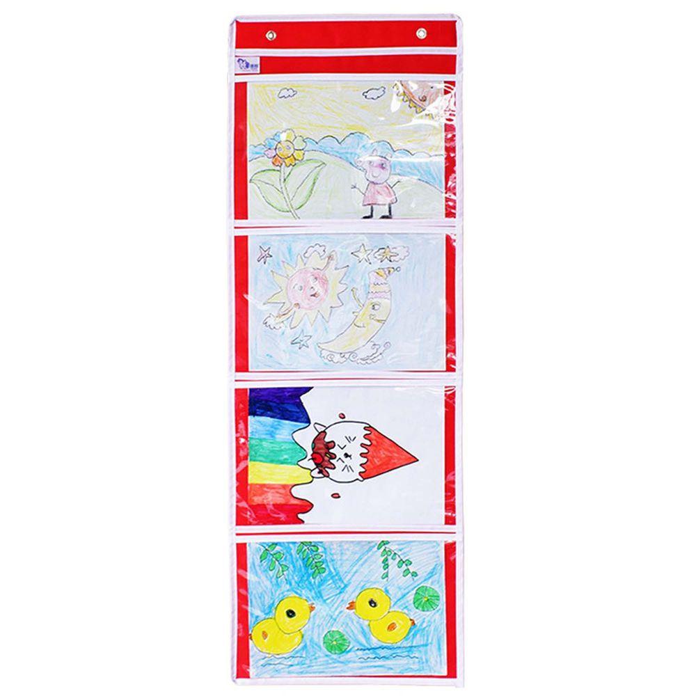 牛津布美術文件通告掛袋-A4橫款四格-紅色 (35*101cm)