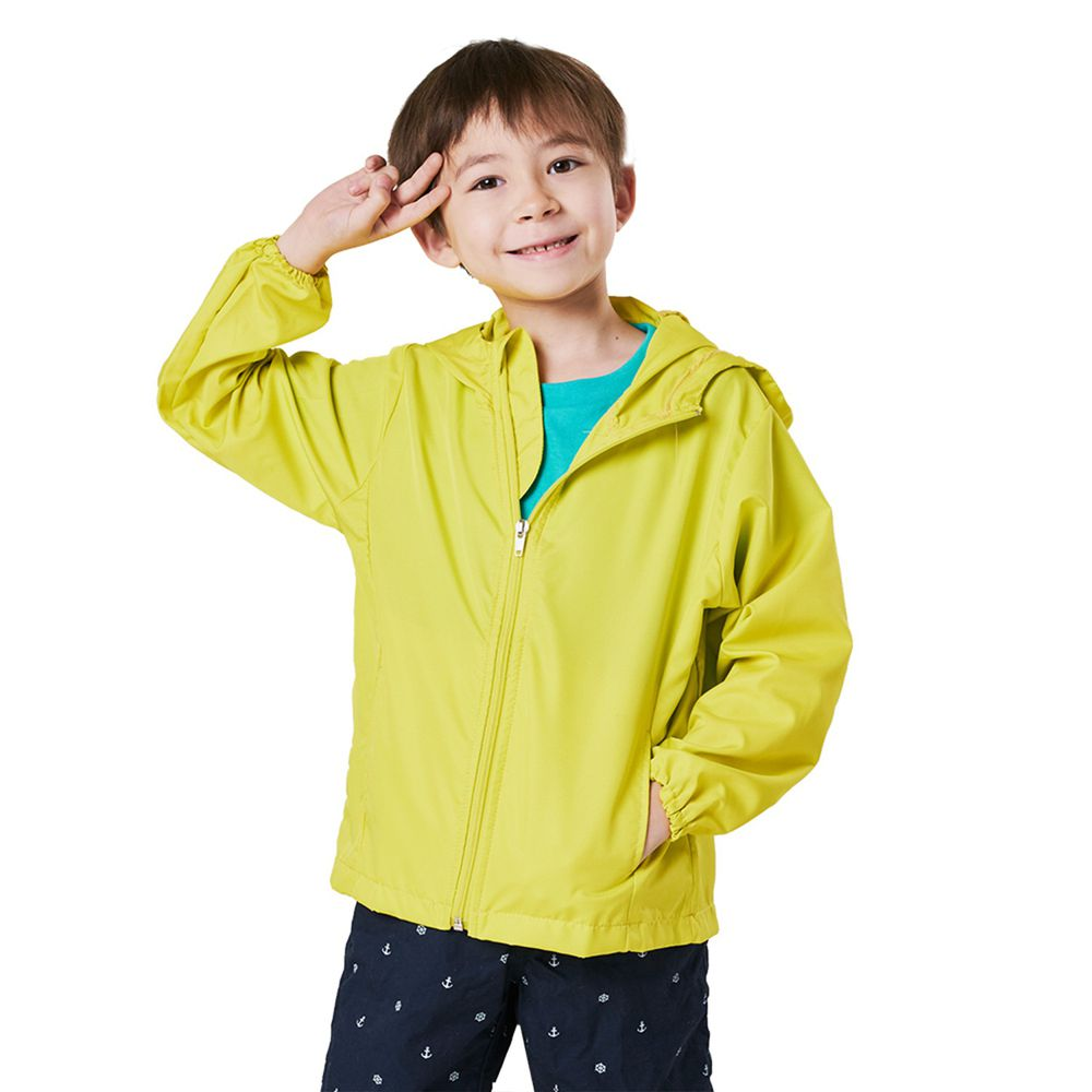 GIAT - UPF50+防潑水抗UV防風連帽外套(兒童款)-青檸黃