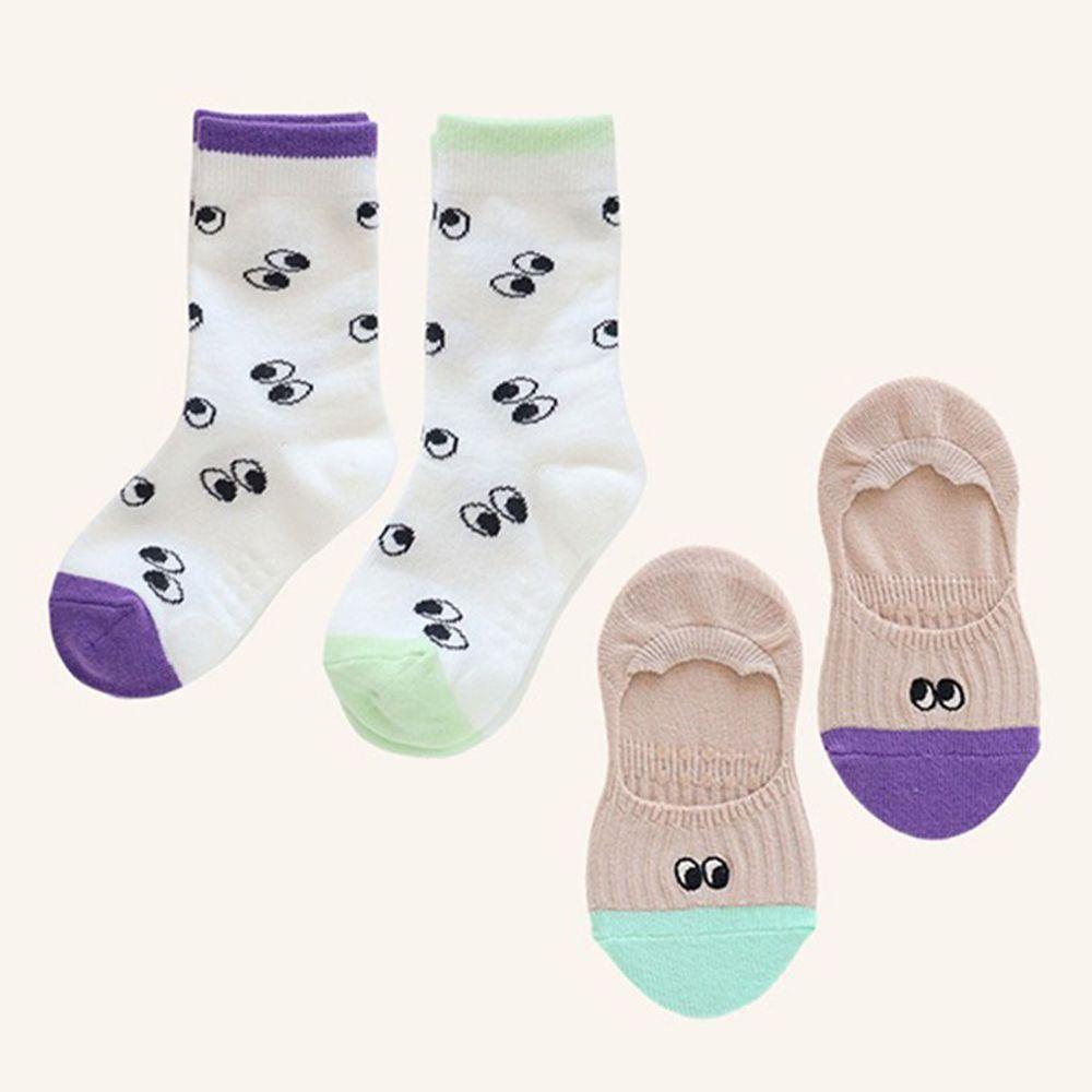 韓國 Kokacharm - 韓國製踝襪+船型襪-二件組-EYES
