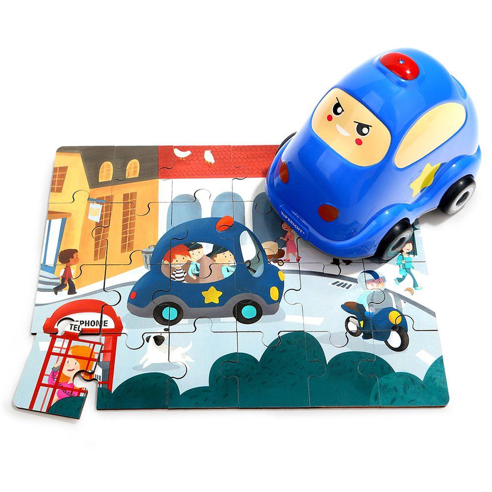 TOP BRIGHT特寶兒 - 造型木製隨身拼圖-警車