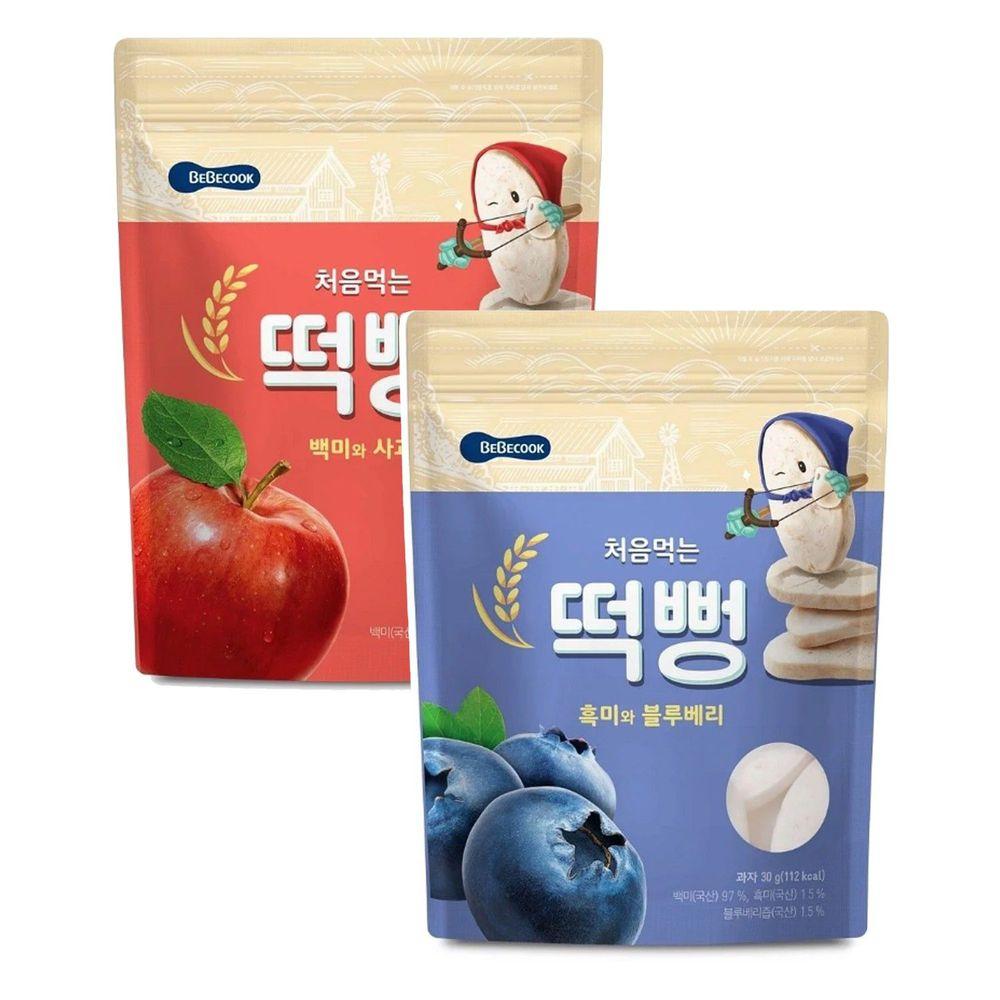 BEBECOOK 寶膳 - 嬰幼兒初食綿綿米餅-兩入組-藍莓*1+蘋果*1