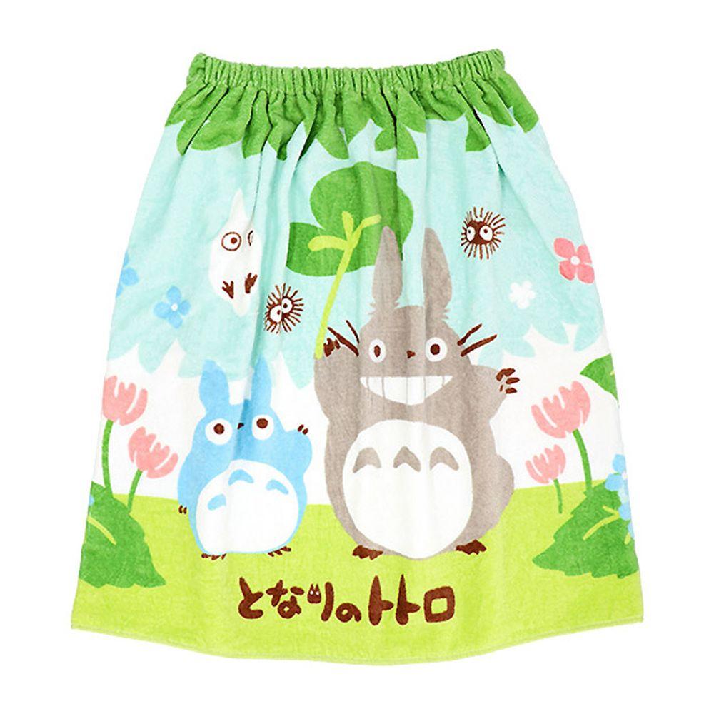 日本服飾代購 - 純棉海灘/游泳浴巾/浴袍 (附釦)-龍貓-綠 (長60cm(幼稚園~國小低年級))