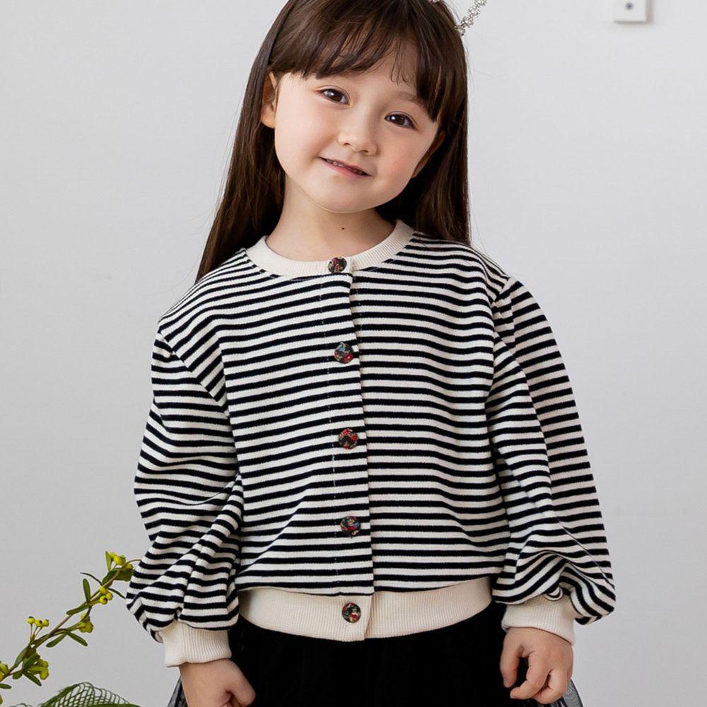 韓國 ERU - 單排釦條紋針織外套-黑