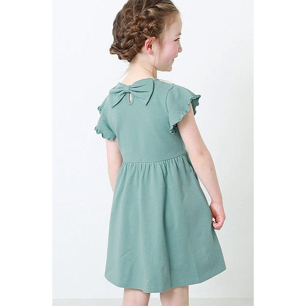 日本 devirock - 純棉木耳邊短袖小洋裝-薄荷綠