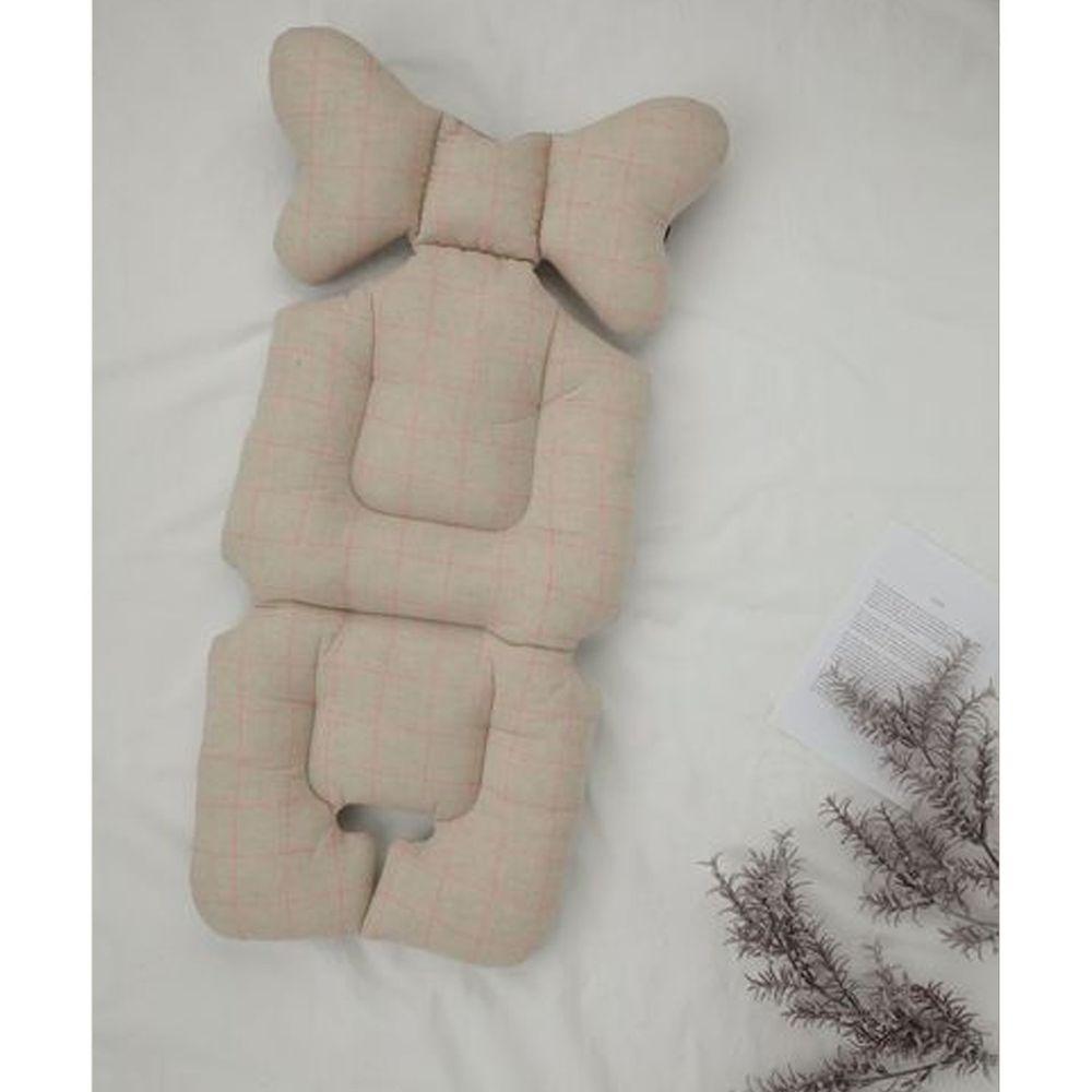 英國Nuida - 嬰兒推車軟墊-米色霓虹條紋