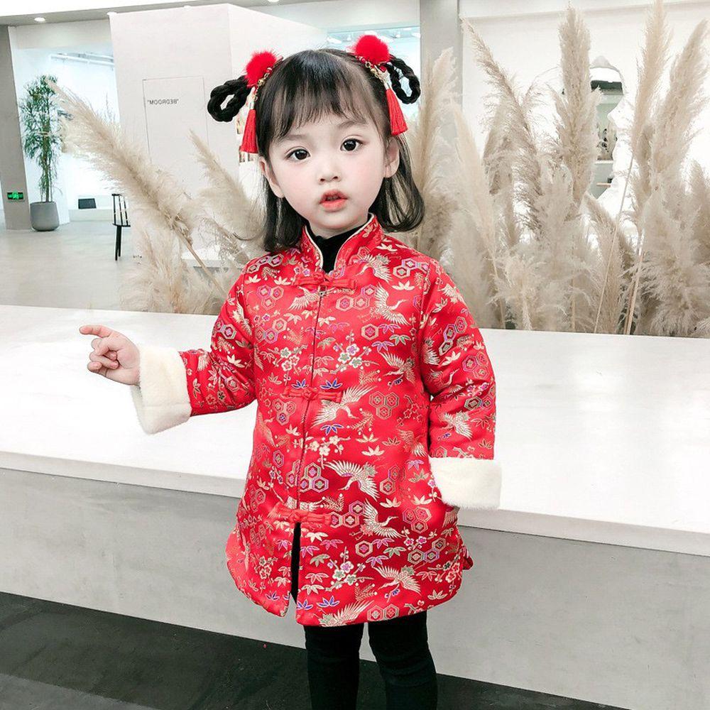 盤扣棉襖刺繡外套-紅色