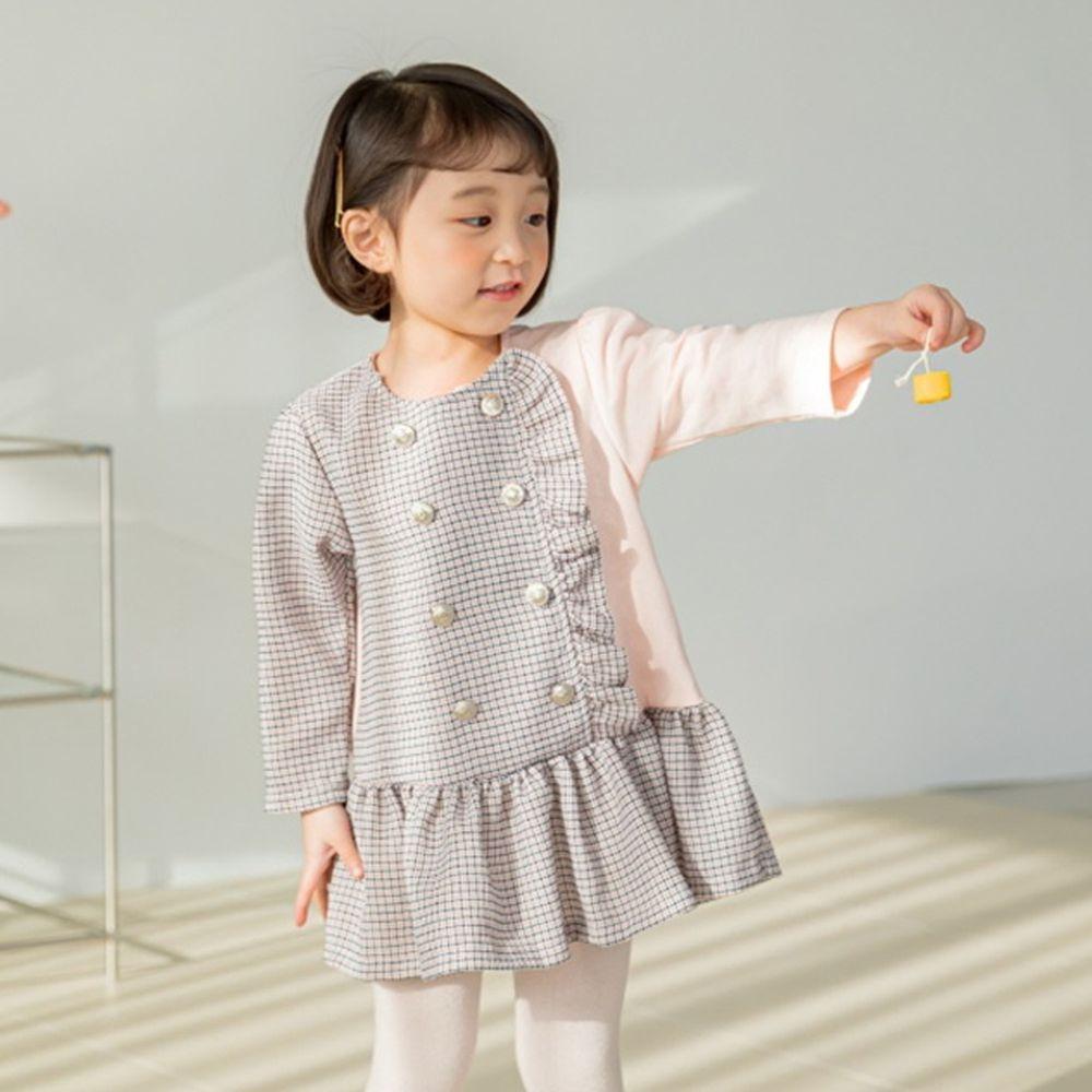 韓國 Orange Mom - 單邊荷葉雙排釦洋裝-淺粉紅