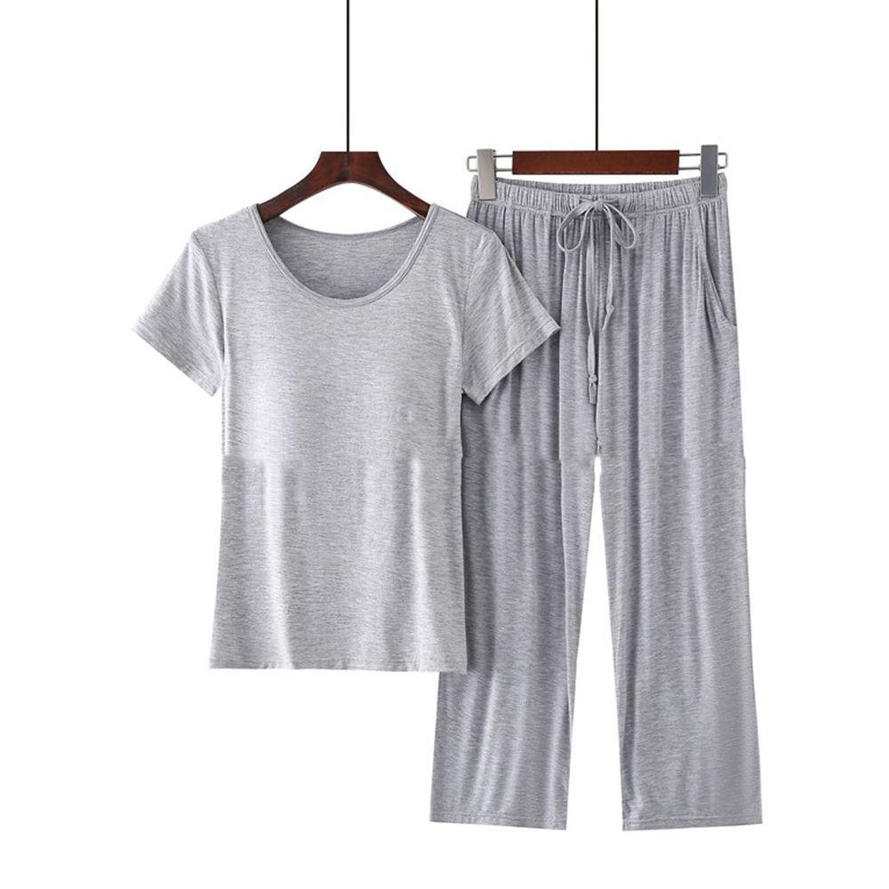 莫代爾柔軟涼感Bra T家居服-七分褲套裝-淺灰色
