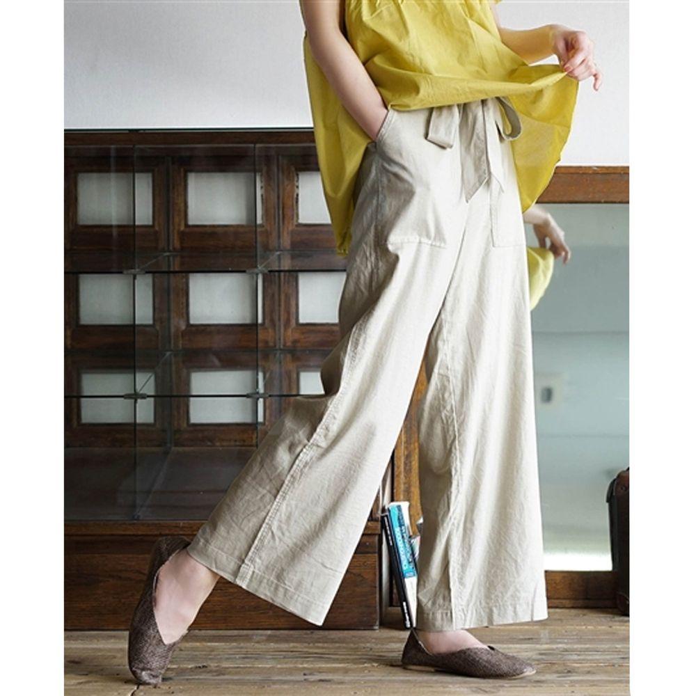 日本 zootie - 麻料舒適綁帶寬褲-燕麥