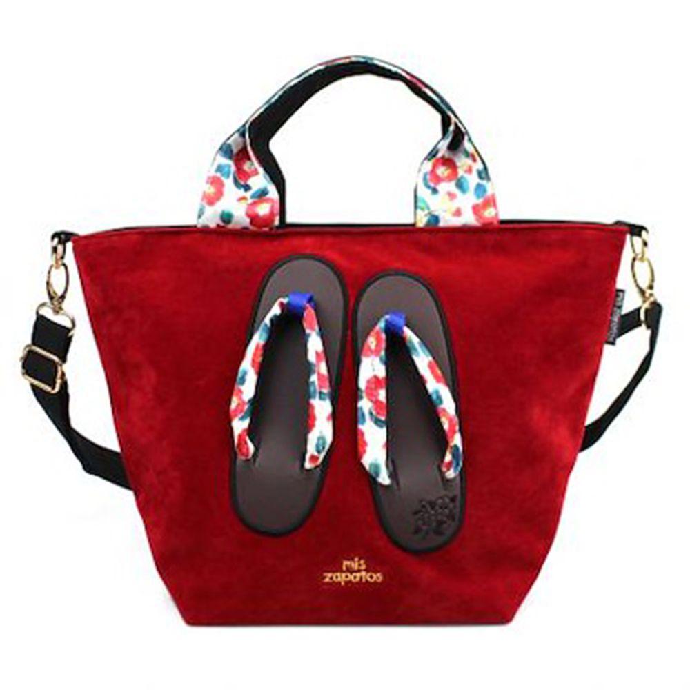 mis zapatos - 肩揹美腿包(棉布)-和服木屐夾腳拖-WI酒紅色 (24*19*19cm)