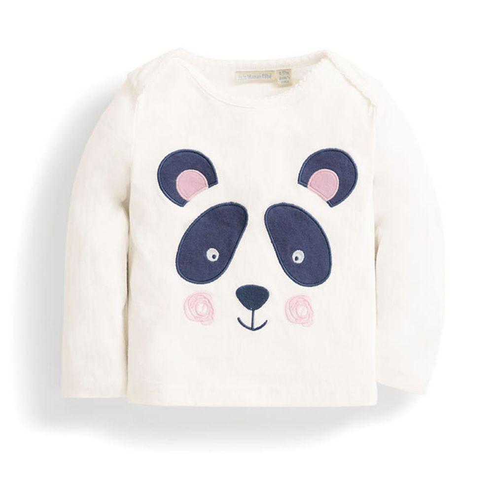 英國 JoJo Maman BeBe - 嬰幼兒長袖純棉上衣-甜美熊貓