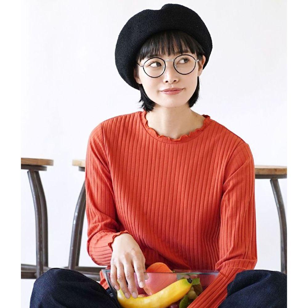 日本 zootie - 輕薄木耳邊粗羅紋貼身長袖上衣-正橘