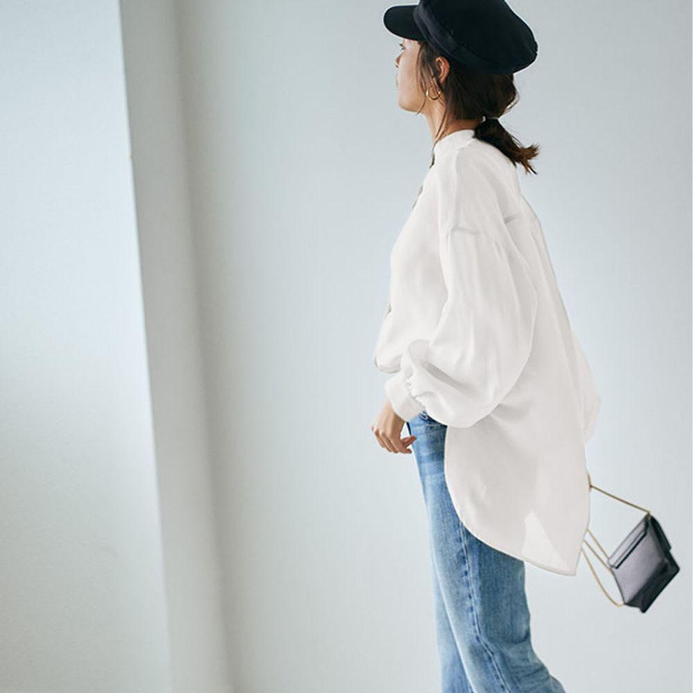 日本 GRL - 絲滑薄透感寬版長袖上衣/罩衫/外套-天使白