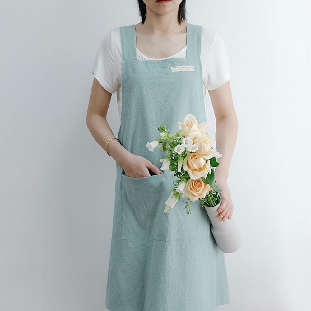 簡約風口袋棉麻圍裙-淺藍色