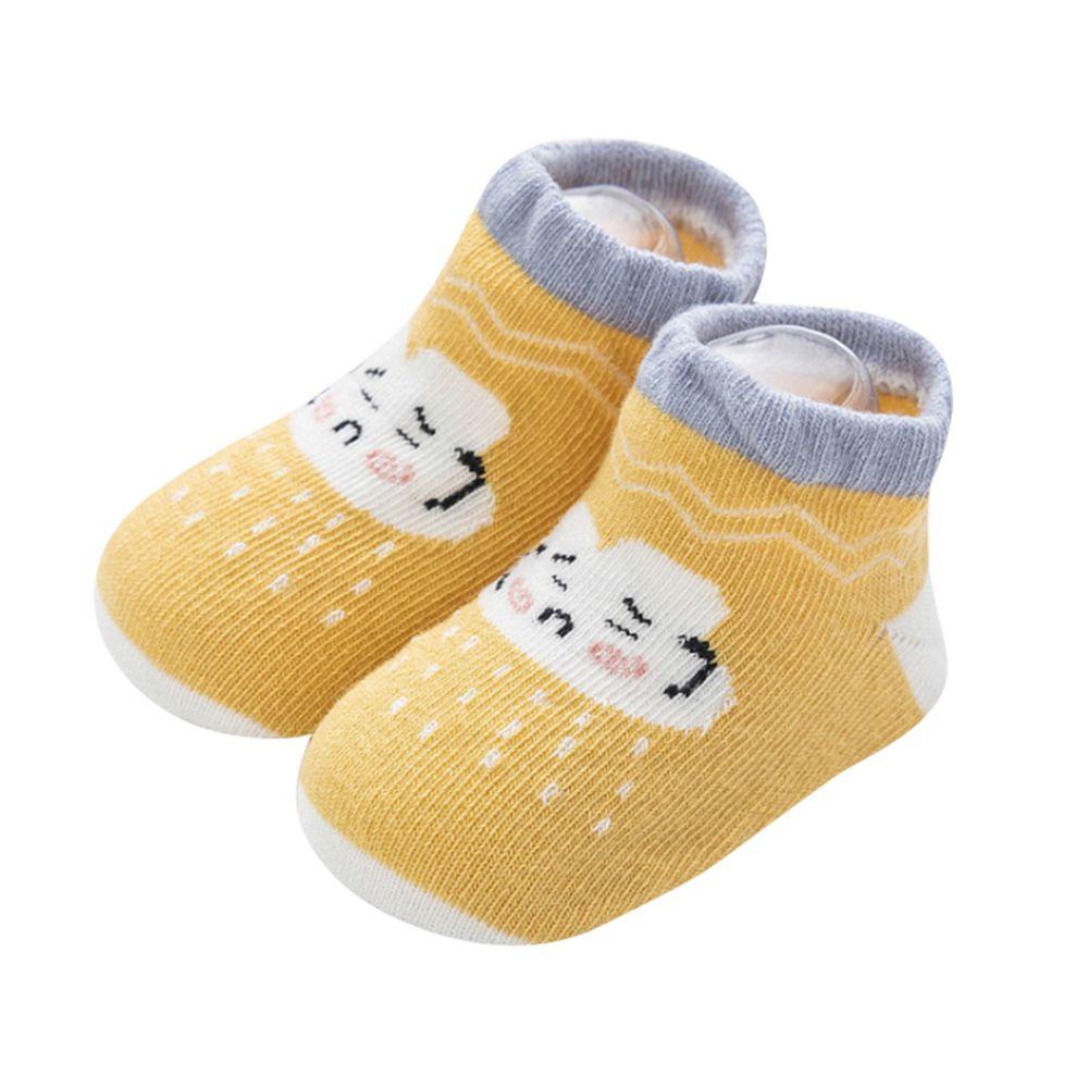 JoyNa - 雲朵天氣船襪 短襪(底部止滑)-黃色白雲朵