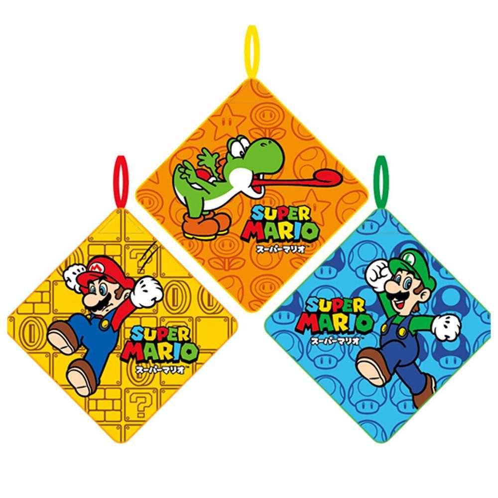 日本代購 - 卡通可掛式方巾/擦手巾三件組-瑪利歐歷險 (28x28cm)