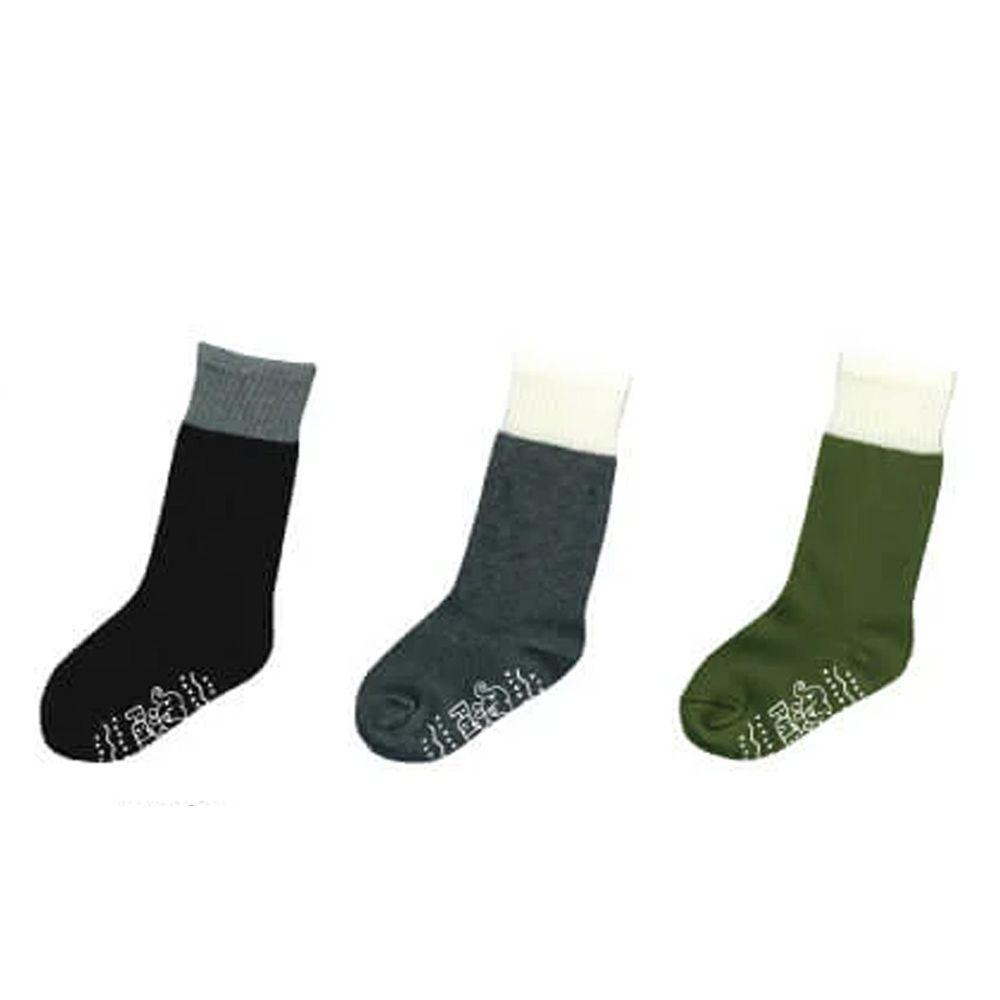 貝柔 Peilou - 貝寶萊卡義式對目泡泡拼接止滑長襪-3色各1雙(灰/黑/抹綠)