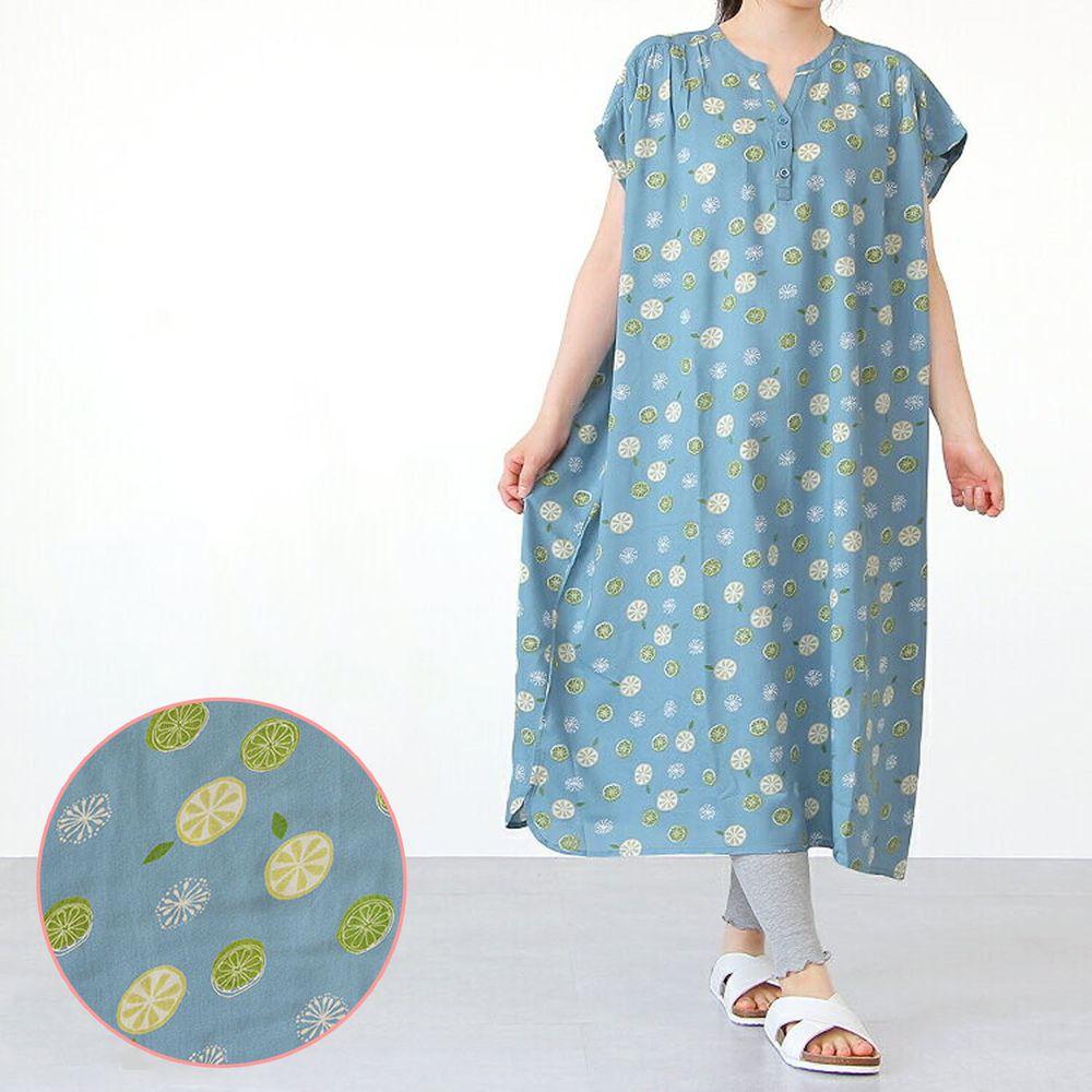 日本女裝代購 - COOL 涼感柔軟舒適家居短袖洋裝/睡衣-檸檬-水藍 (M-L Free)