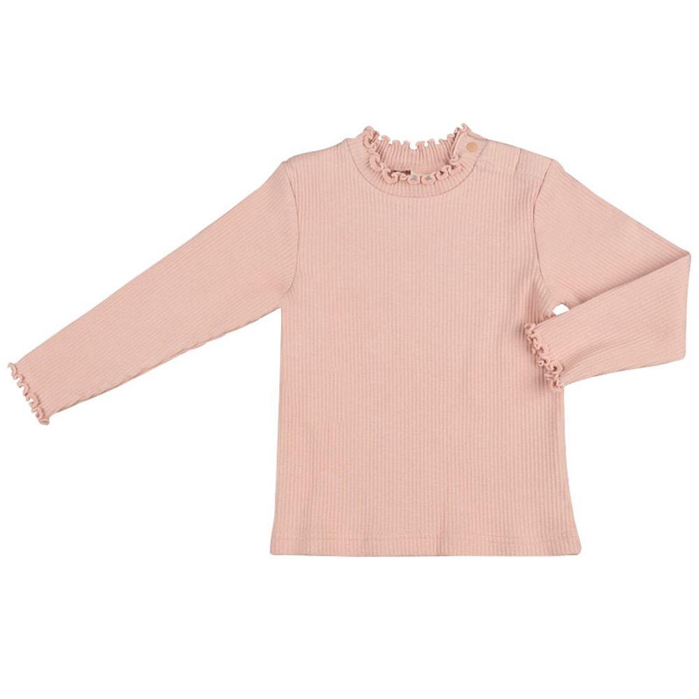 akachan honpo - 長袖T恤 小立領-粉紅色