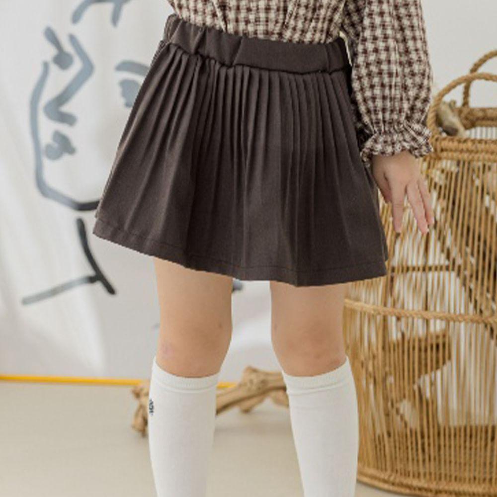 韓國 Orange Mom - 皺摺百搭短裙-深褐