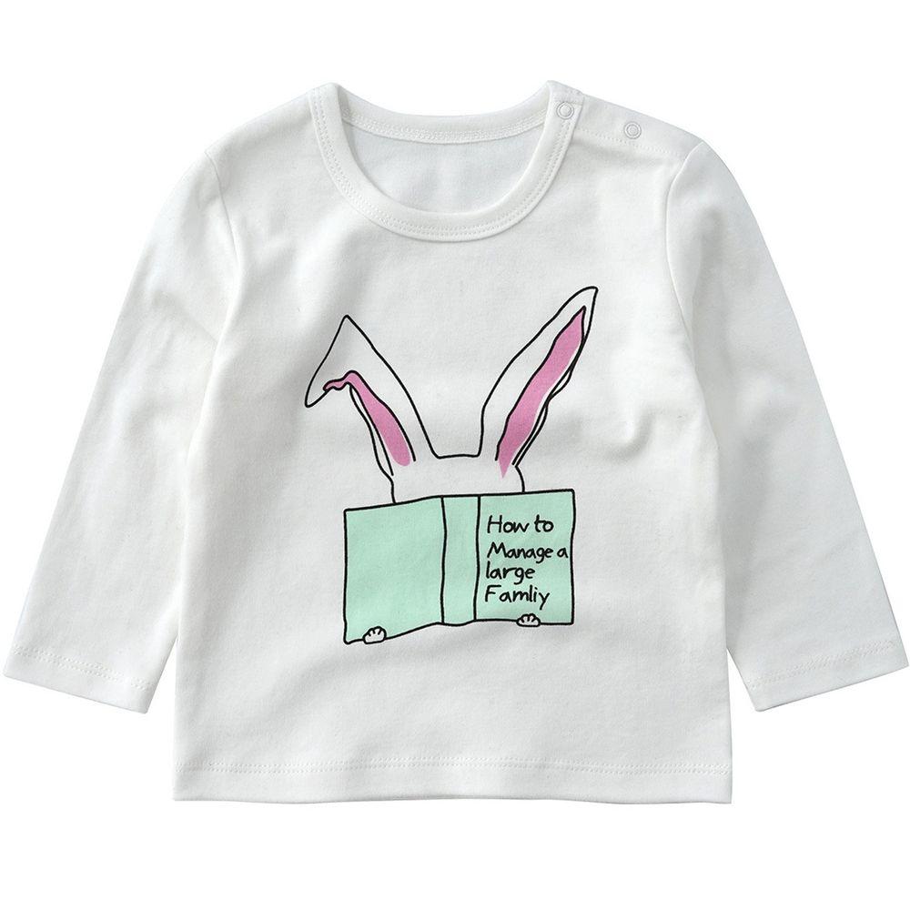 Minizone - 閱讀動物長袖T恤-無肩扣-白色兔子