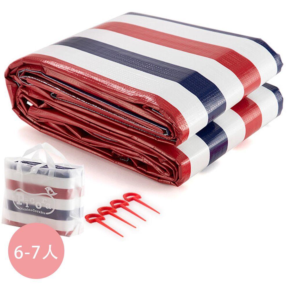 日本代購 - 三層構造防水野餐墊(附收納袋/地釘*4)(6-7人)-法式藍紅條紋 (180x240cm)