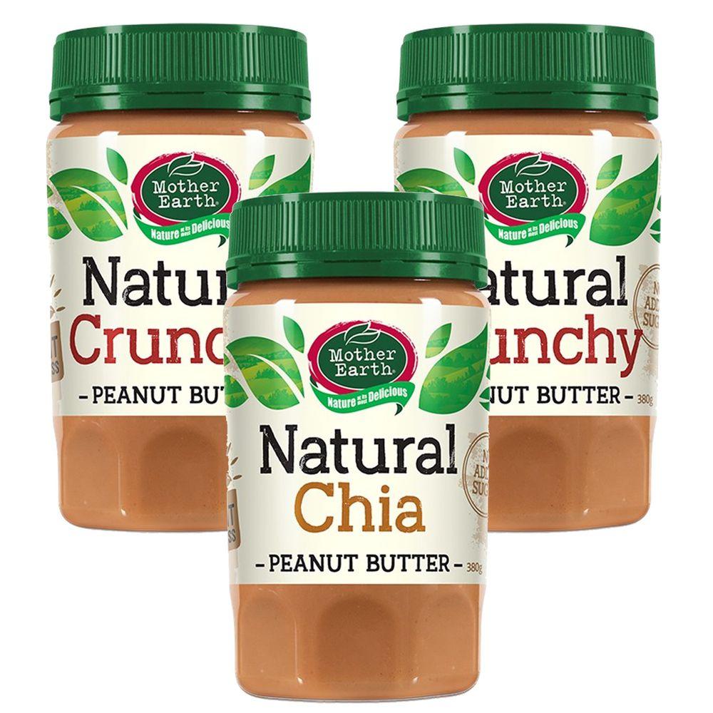 壽滿趣 - 紐西蘭Mother Earth超級花生醬3瓶組-顆粒2+奇亞籽1 (380gx3)
