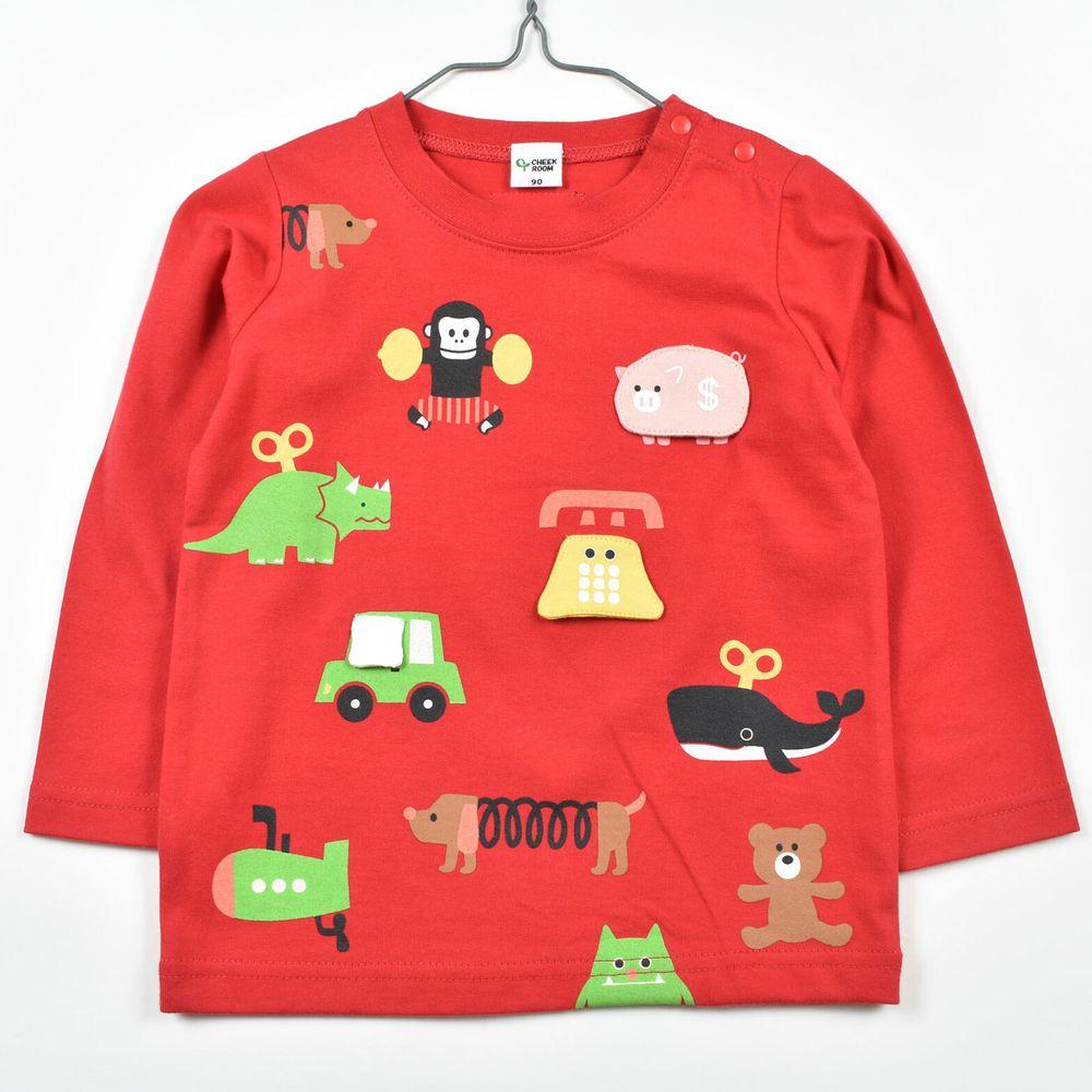 日本 Baby Room - 純棉立體翻翻樂長袖上衣-動物玩具-紅
