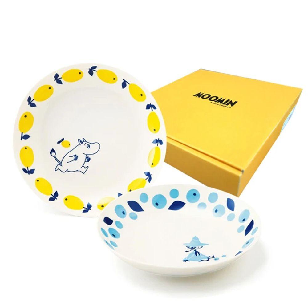 日本山加 yamaka - moomin 嚕嚕米彩繪陶瓷深盤禮盒-MM0313-139-2入組