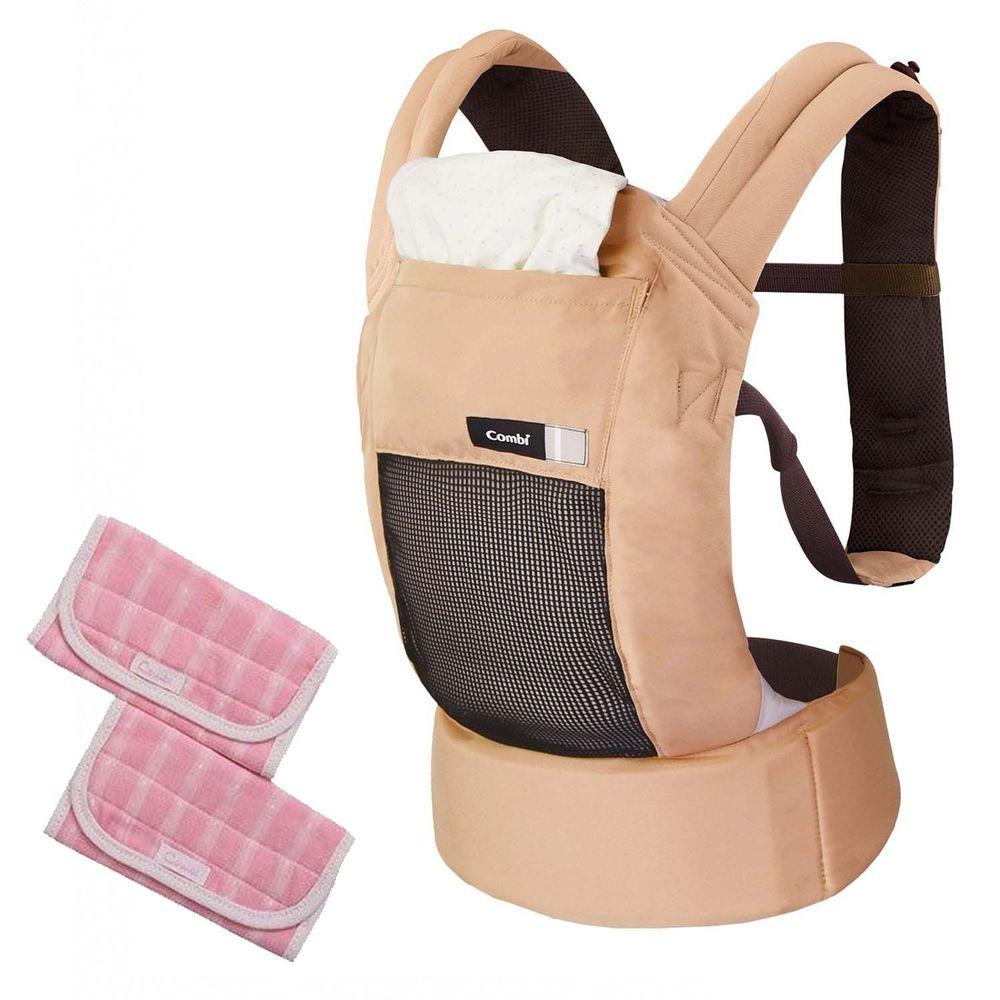 日本 Combi - JoinMesh透氣減壓腰帶式背巾+口水巾(粉)-奶茶棕