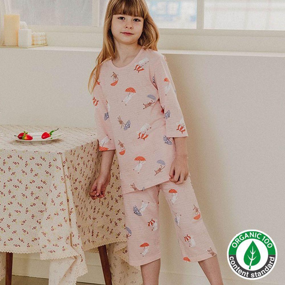 韓國 Mavarm Organic - 有機棉透氣七分袖家居服-雨傘小兔