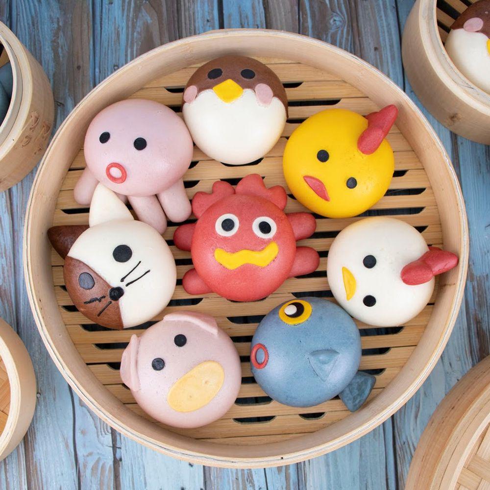 艾酷奇 - 綜合造型饅頭組 (8入袋裝)[全素]-章魚饅頭x1、魚饅頭x1、螃蟹饅頭x1、小豬饅頭x1、白小雞饅頭x1、黃小雞饅頭x1、麻雀饅頭x1、貓咪饅頭x1 (400公克±3%)-團購專案
