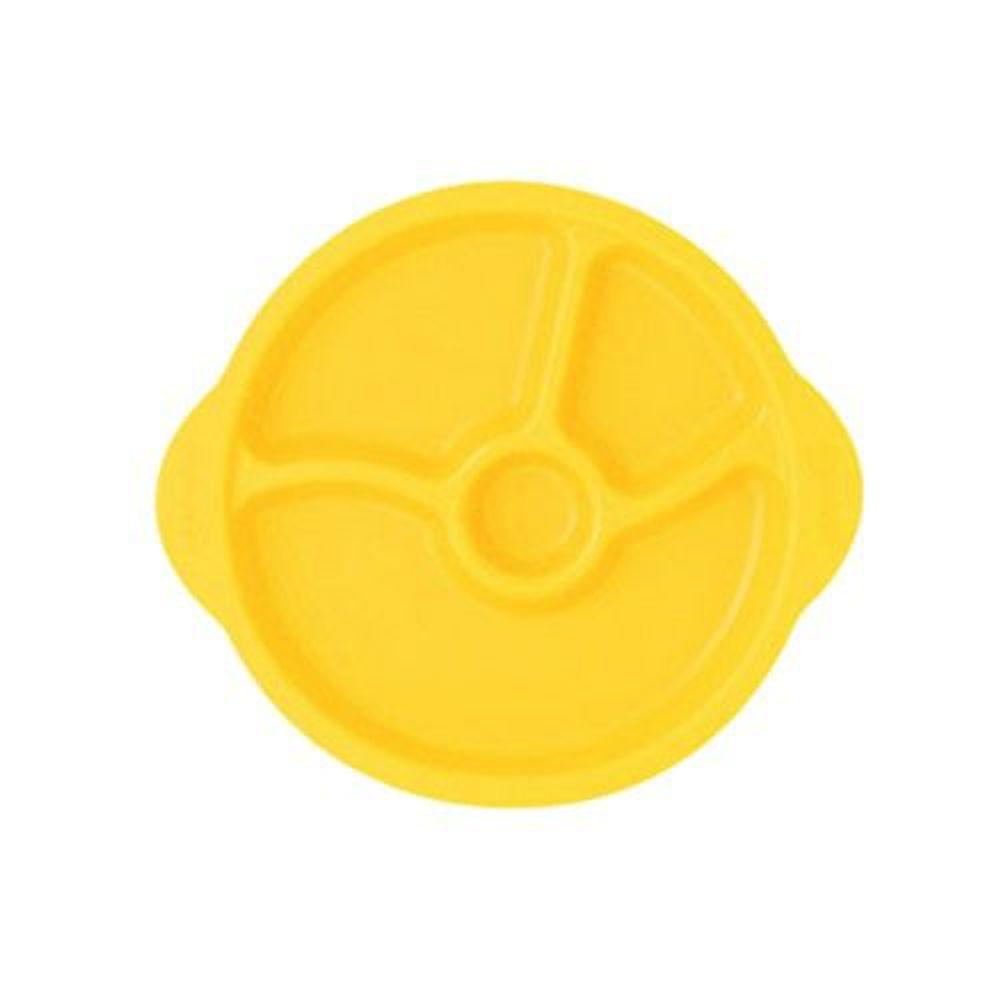 韓國 sillymann - 100%鉑金矽膠防滑幼兒學習餐盤-黃色