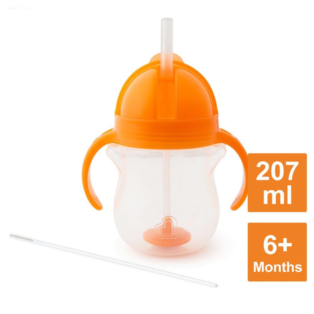 美國 munchkin - 貼心鎖滑蓋防漏杯(360度吸管)207ml-橘 (6M+)