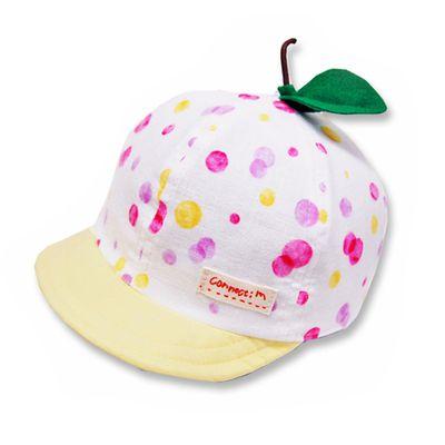 日本製粉嫩點點幼童帽(附彈性帽帶)-小葉子-粉