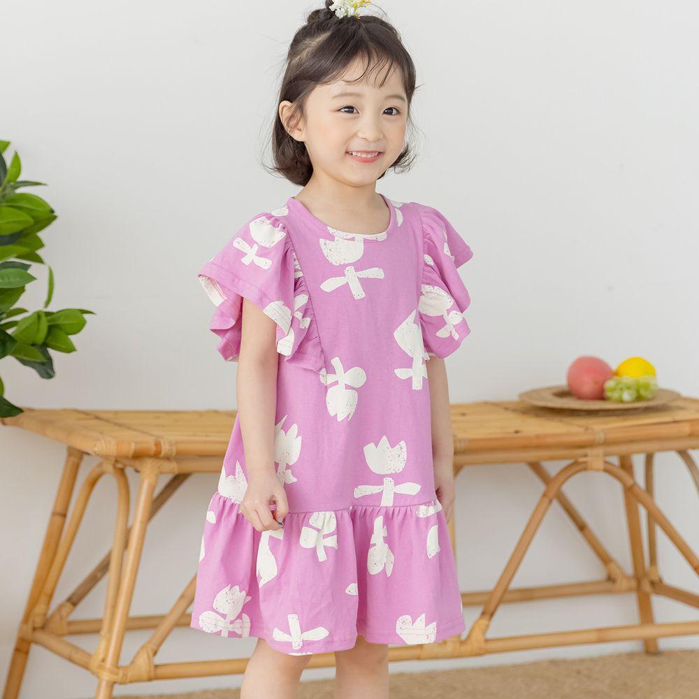 韓國 Orange Mom - 復古鬱金香洋裝-粉紫