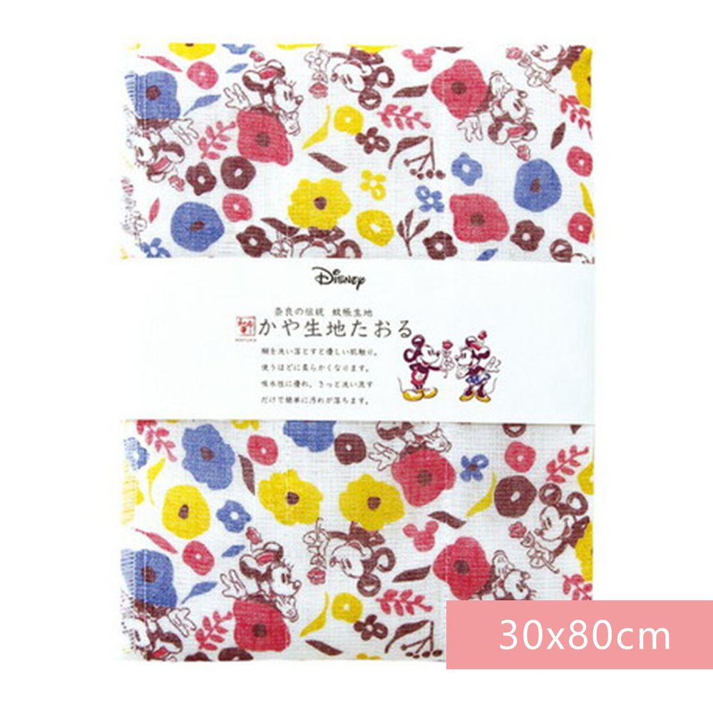 日本代購 - 【和布華】日本製奈良五重紗 長毛巾-米奇米妮告白花園 (30x80cm)