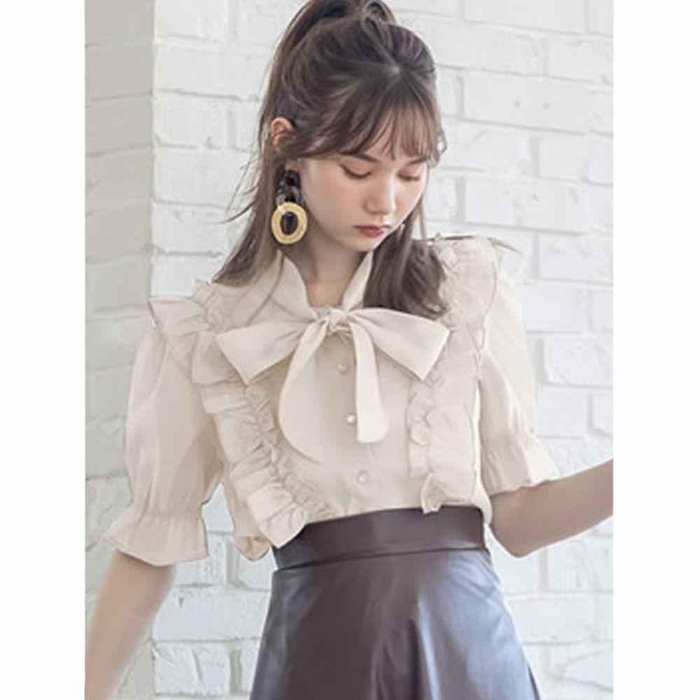 日本 GRL - 純棉優雅荷葉邊蝴蝶結綁帶短袖襯衫-象牙米