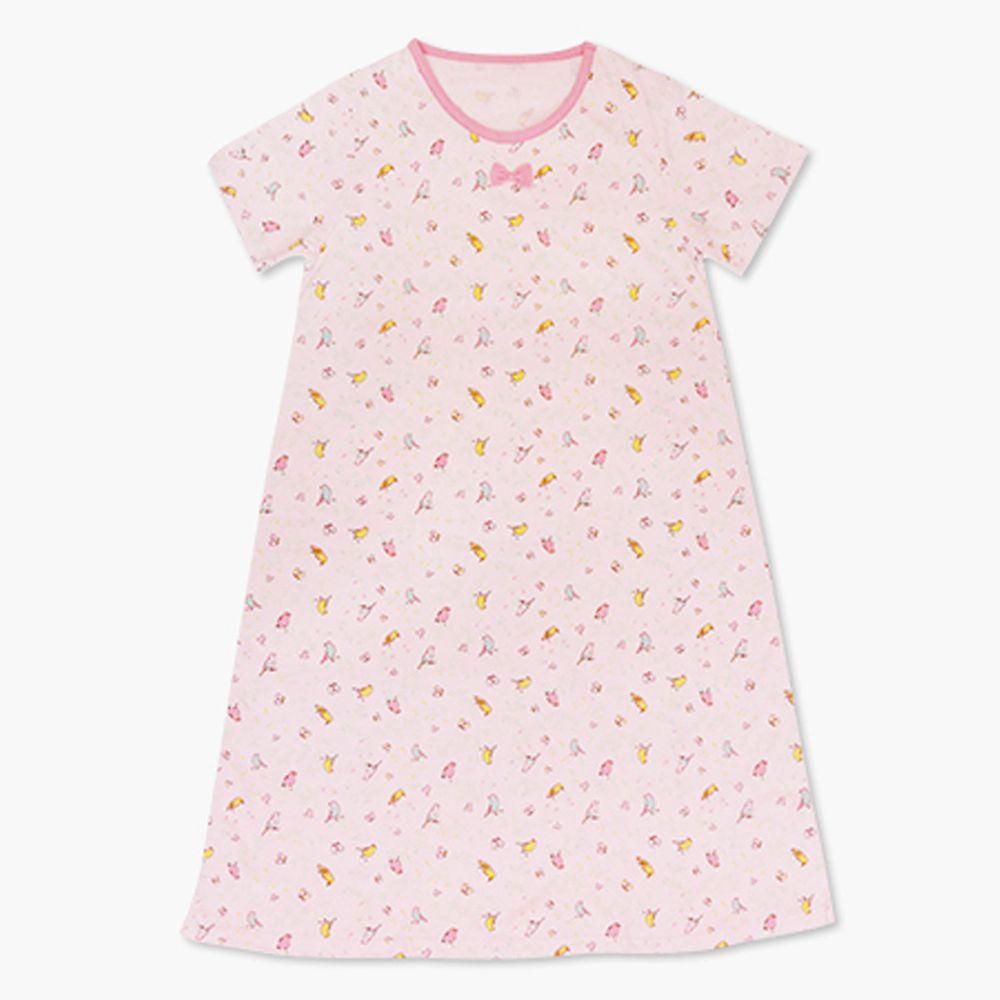 Annypepe - 女童純棉鳥語花香短袖居家睡衣洋裝-淺粉 (130-150cm)