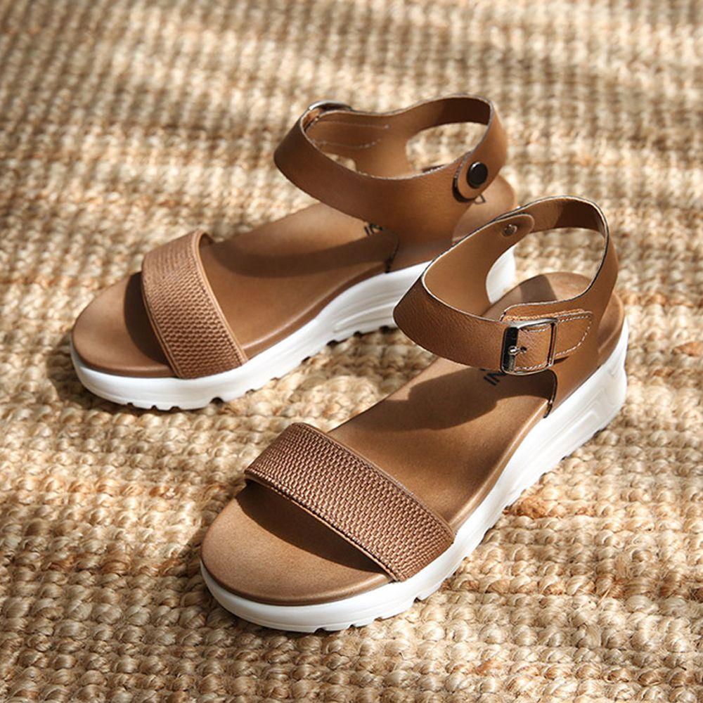 韓國 Dangolunni - 一字寬面軟後底涼鞋(4.5cm高)-棕