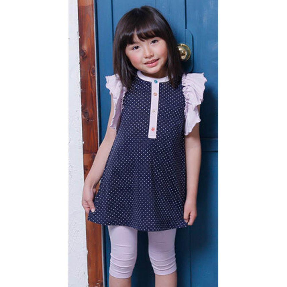 日本 TORIDORY - 荷葉邊拼接無袖洋裝-深藍點點X紫