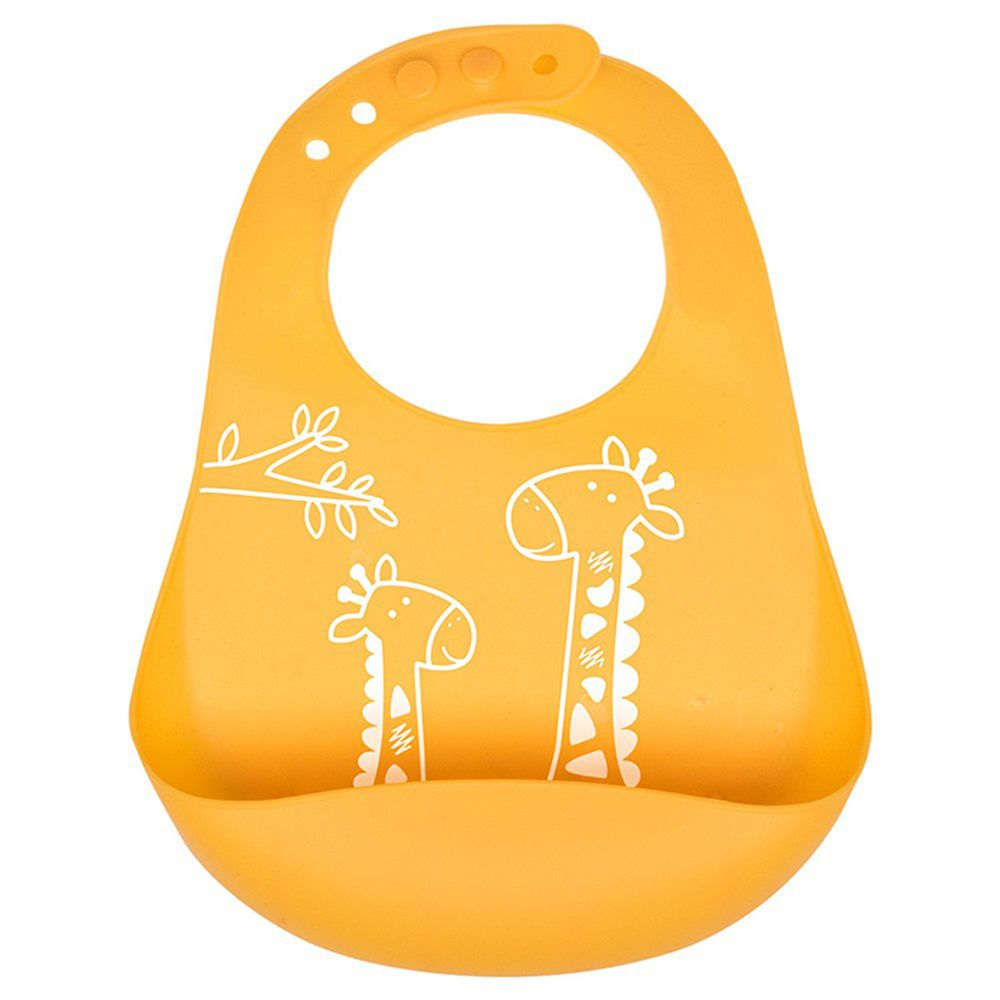 英國 JoJo Maman BeBe - 矽膠防掉落食物袋圍兜-長頸鹿