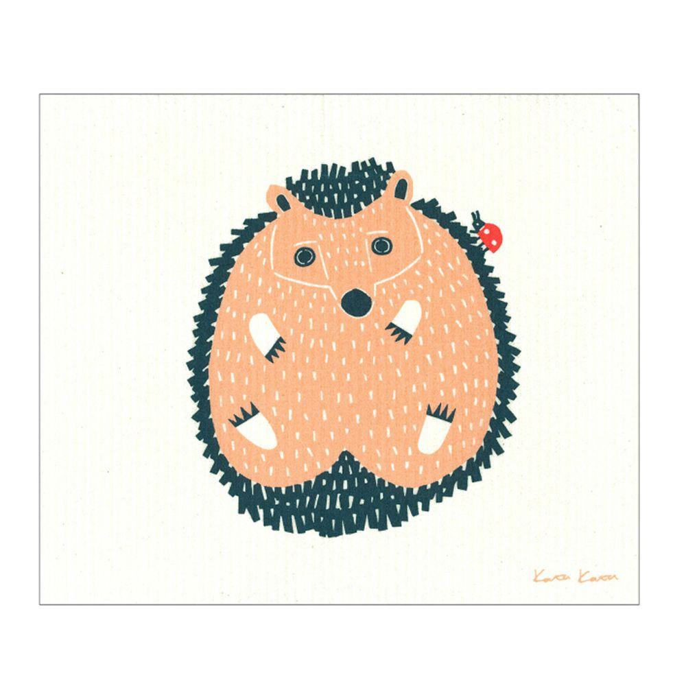 日本代購 - 德國製 北歐風環保高吸水海綿抹布/吸水巾-小刺蝟 (30.4x25.7cm)
