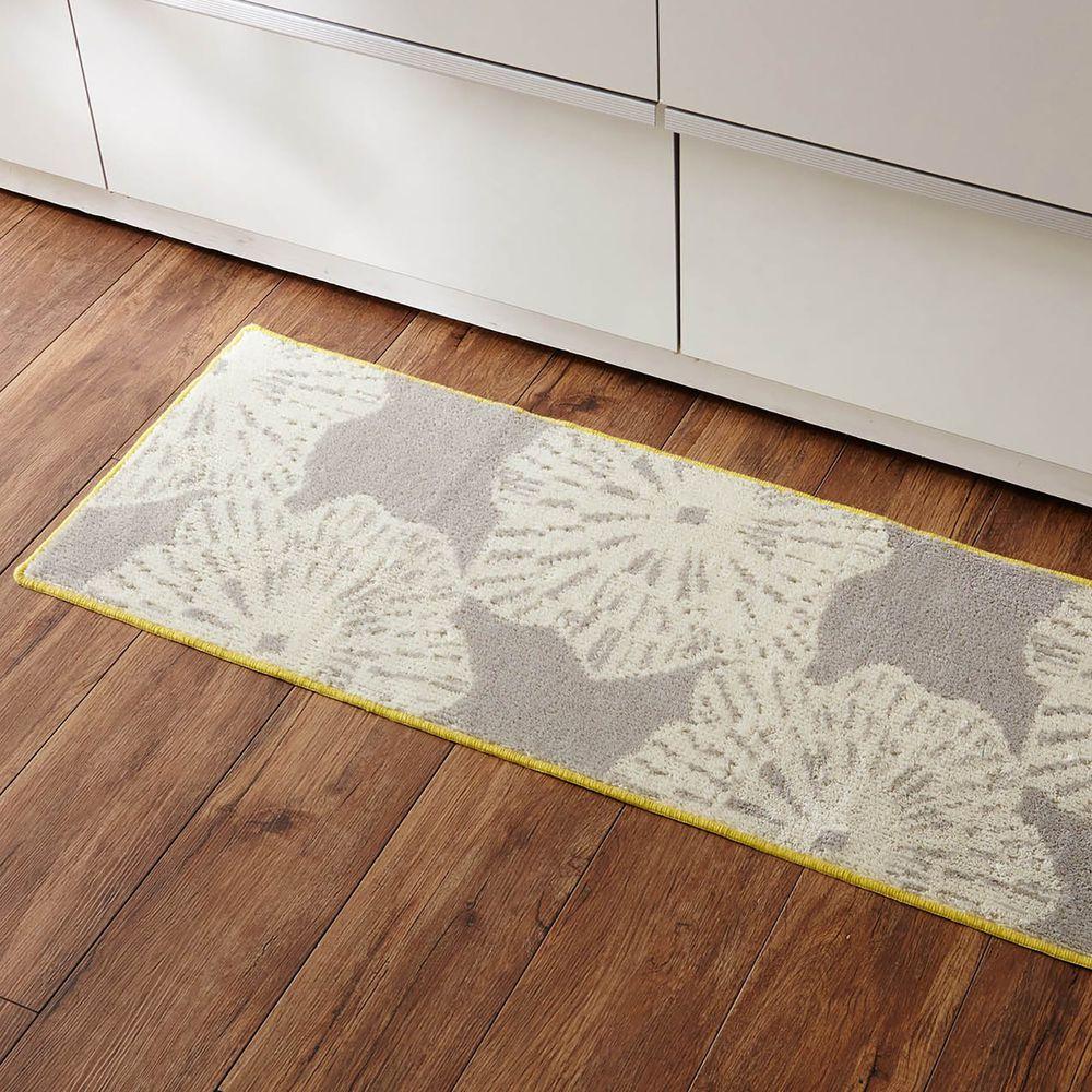 日本千趣會 - 日本製 長毛舒適腳踏墊(廚房/臥室)-北歐風花紋-灰色系