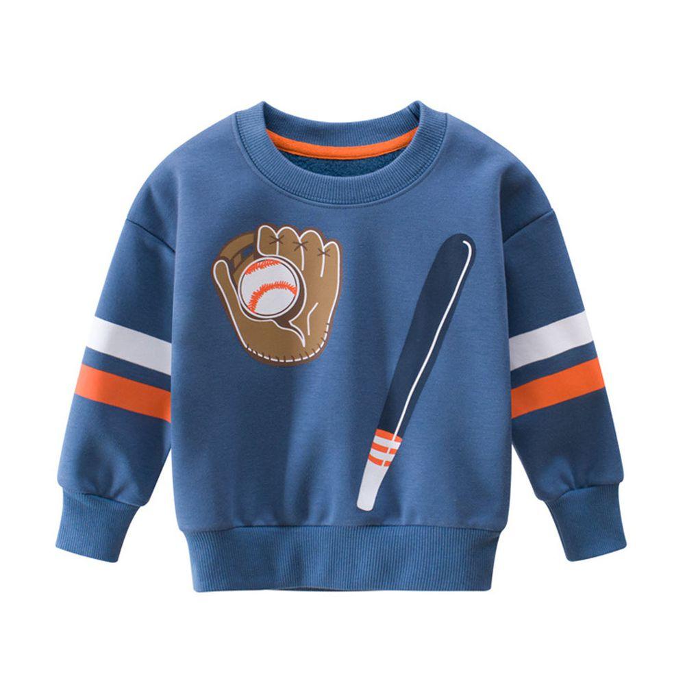 加絨棉混紡長袖大學T-棒球組-藍色