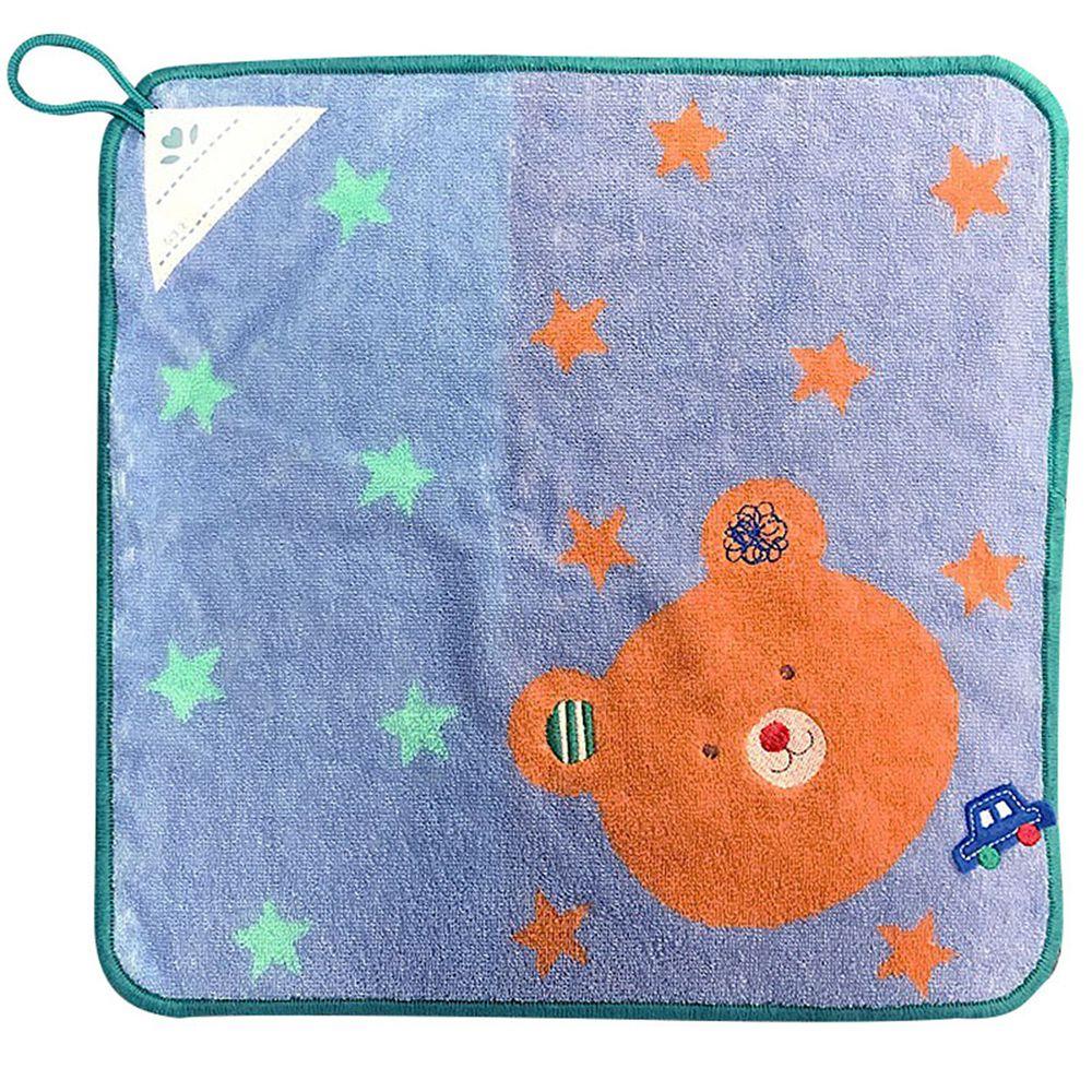 akachan honpo - 擦手巾pocket town-微笑動物-藍色-34×34cm